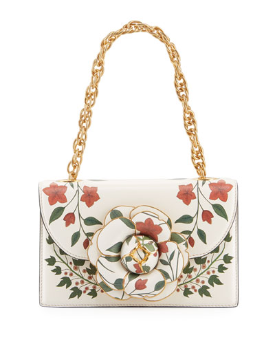 Tro Flower-Print Leather Shoulder Bag