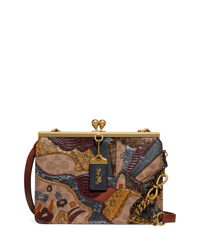 Coated Canvas Signature Starscape Patchwork Double Frame Bag with Exotic Detail