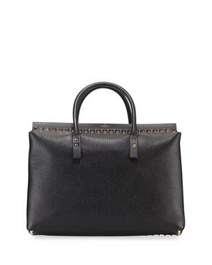 6bc77f2f8 Valentino Garavani Rockstud Medium Top-Handle Tote Bag
