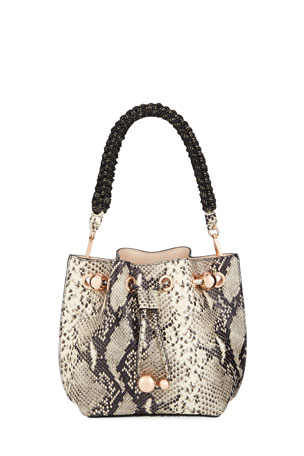 Sophia Webster Romy Mini Snake-Embossed Bucket Bag