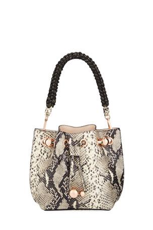 Sophia Webster Romy Mini Snake-Embossed Bucket Bag
