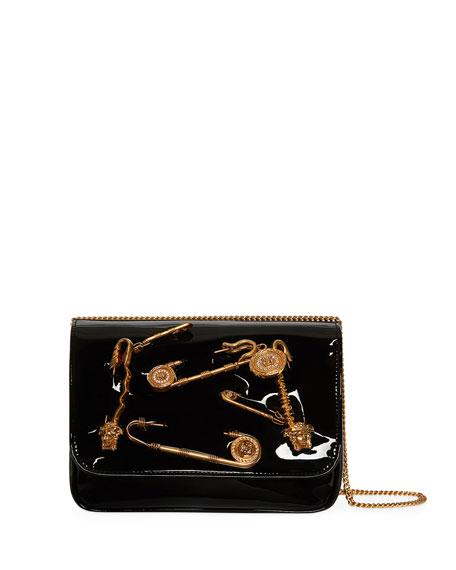 Versace Safety Pin Patent Crossbody Bag