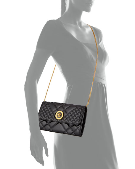 Versace Icon Quilted Patent Crossbody Bag
