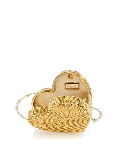 Judith Leiber Couture Heart Fully Beaded Clutch Bag