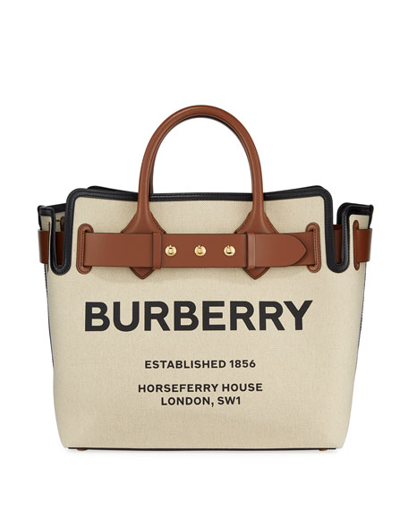 Burberry Belt Horseferry Print Canvas Leather-Belted Medium Tote Bag