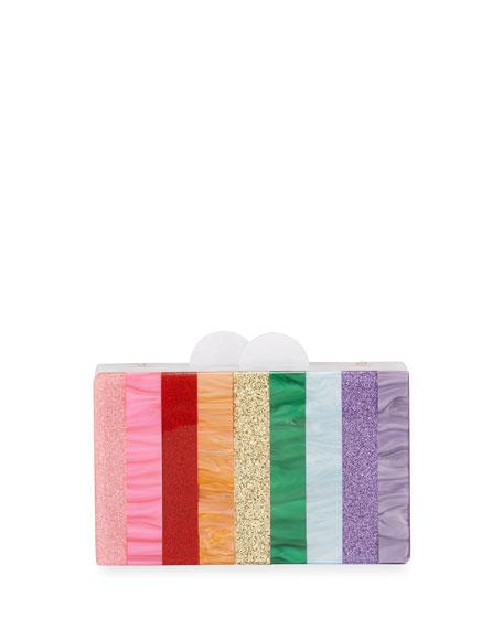 Bari Lynn Clutch GIRLS' RAINBOW STRIPE BOX CLUTCH BAG
