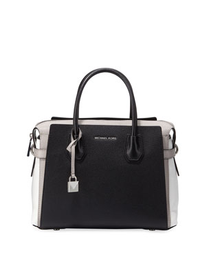 MICHAEL Michael Kors Mercer Belted Colorblock Leather Satchel Bag