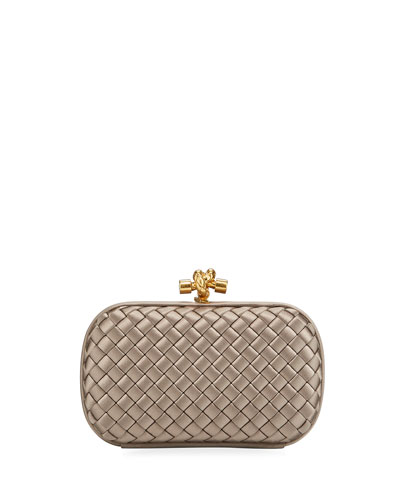 Small Intrecciato Impero Satin Knot Clutch Bag