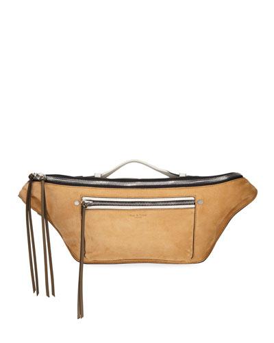 Elliot Large Suede Belt Bag  Brown
