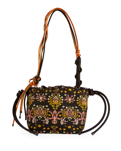 Jacquard Drawstring Bucket Bag