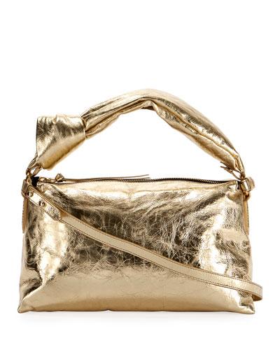 Metallic Crinkle Shoulder Bag