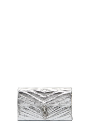 Rebecca Minkoff Edie Metallic Quilted Wallet On Chain