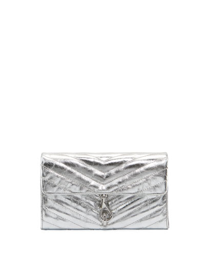 Edie Metallic Quilted Wallet On Chain