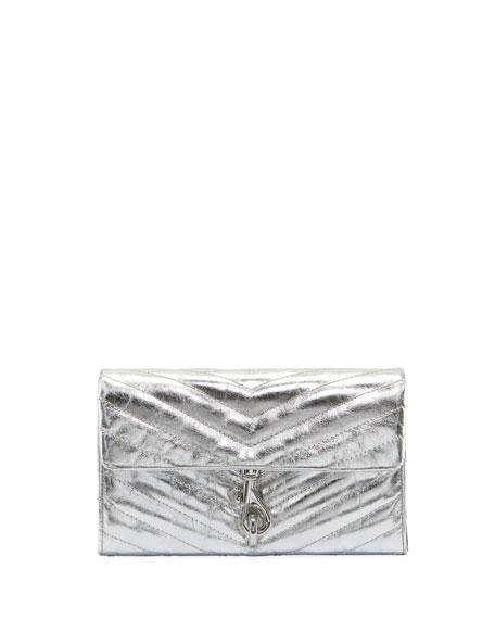 Rebecca Minkoff Edie Metallic Quilted Wallet On Chain