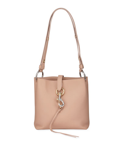 Megan Small Leather Feed Bag  Beige