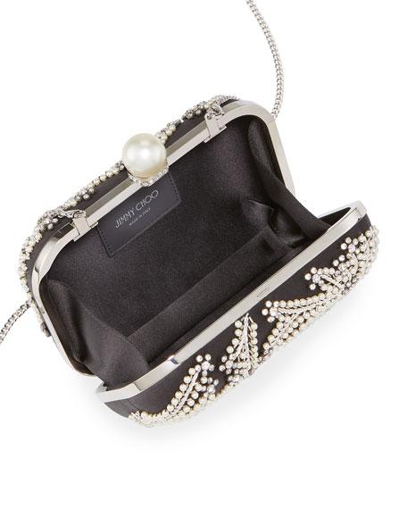 Jimmy Choo Cloud Satin Pearly Clutch Bag