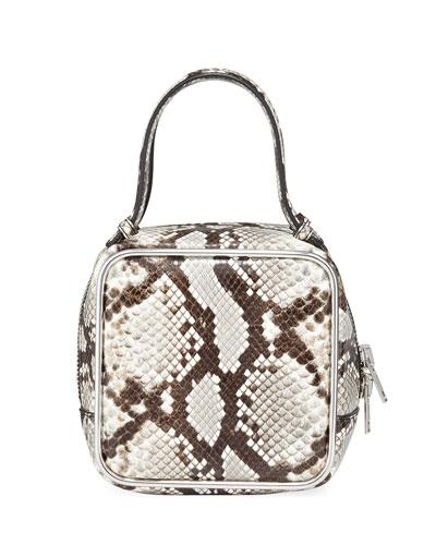 Halo Snake-Print Leather Top-Handle Bag