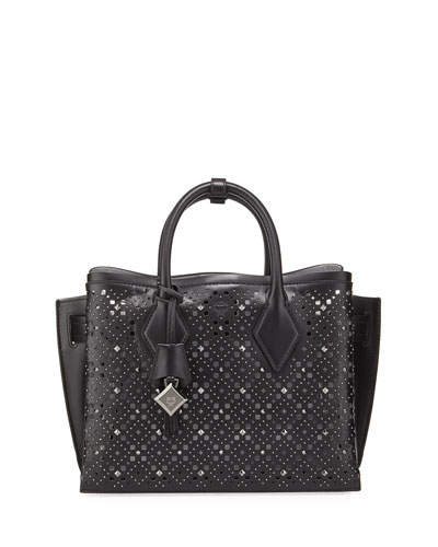 Neo Milla Studded Perforated Leather Tote Bag