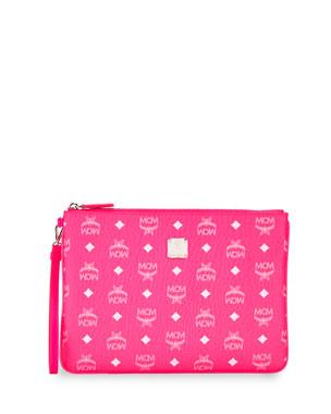 f18977ab5eaf MCM Visetos Original Neon Zip-Top Clutch Bag