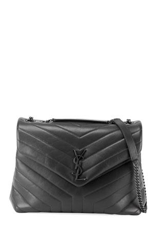 Saint Laurent Loulou Medium YSL Matelasse Calfskin Flap-Top Shoulder Bag, Matte Black Hardware