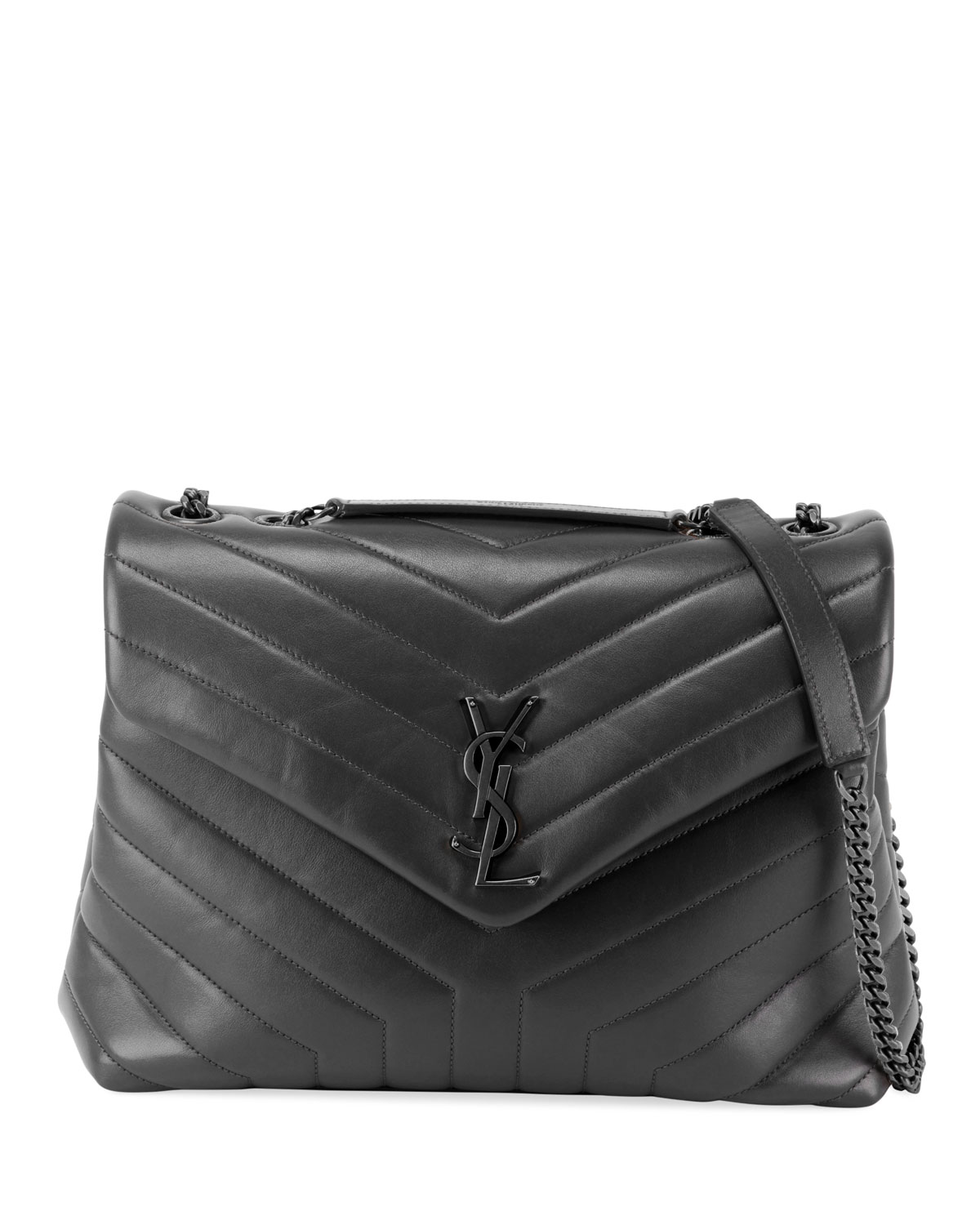 Saint Laurent Loulou Medium YSL Matelasse Calfskin Flap-Top Shoulder Bag, Matte Black Hardware