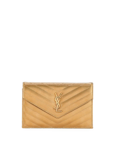 a9f6fda743f Saint Laurent Small YSL Monogram Metallic V-Flap Wallet On Chain