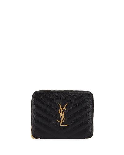 Small YSL Monogram Zip-Around French Wallet
