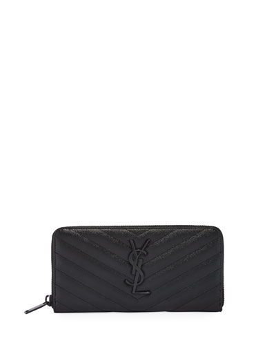 YSL Monogram Continental Zip-Around Wallet