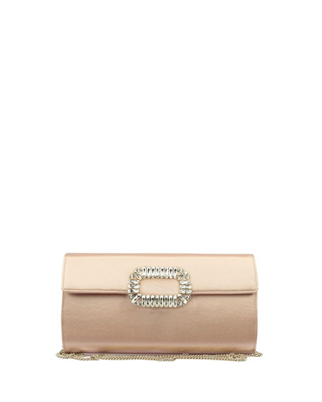 Roger Vivier Envelope Flap Sexy Clutch Bag, Nude