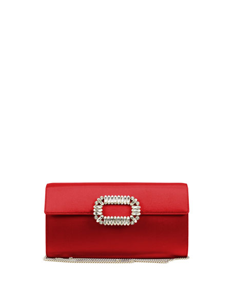 Roger Vivier Envelope Flap Sexy Clutch Bag, Red