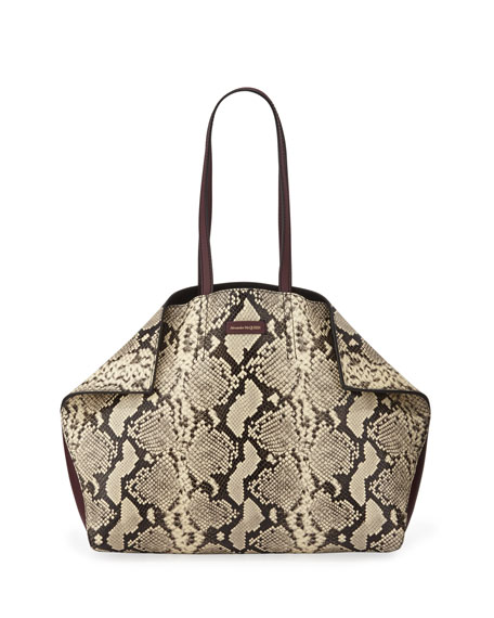 Alexander McQueen Large Butterfly Snake-Print Leather Tote Bag