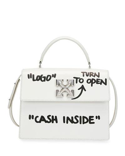 Jitney 2.8 Cash Inside Top-Handle Bag  White/Black