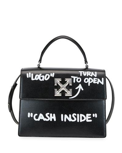 Jitney 2.8 Cash Inside Top-Handle Bag  Black/White