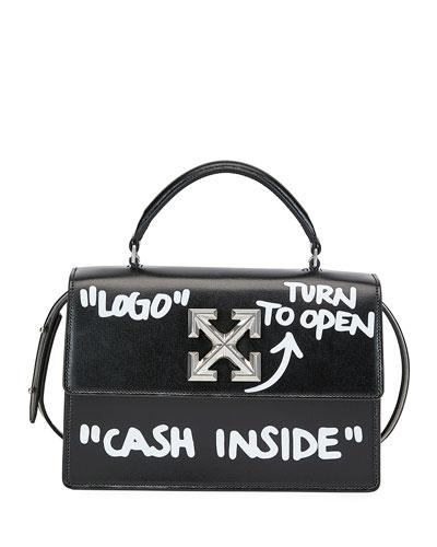 Jitney Cash Inside Top Handle Bag  Black/White