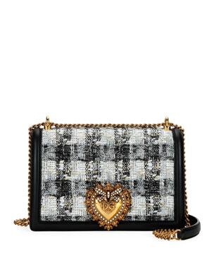 5fa90ecbf3a08 Dolce   Gabbana Devotion Borsa Tweed Crossbody Bag