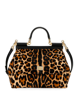 9aff3555eac Dolce & Gabbana Sicily Large Leopard Top-Handle Bag