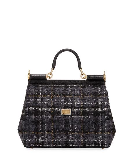 Dolce & Gabbana Sunflower Borsa Tweed Shoulder Bag
