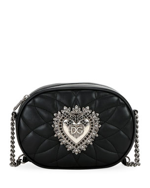 cae9d82c77 Dolce & Gabbana Devotion Quilted Leather Camera Bag with Heart Medallion
