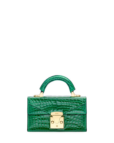 Crocodilian Mini Top Handle Bag  Green