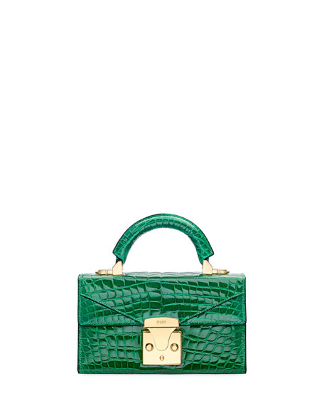 STALVEY Crocodilian Mini Top Handle Bag, Green