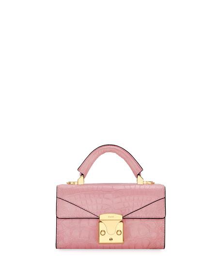 STALVEY Crocodilian Mini Top Handle Bag, Pink