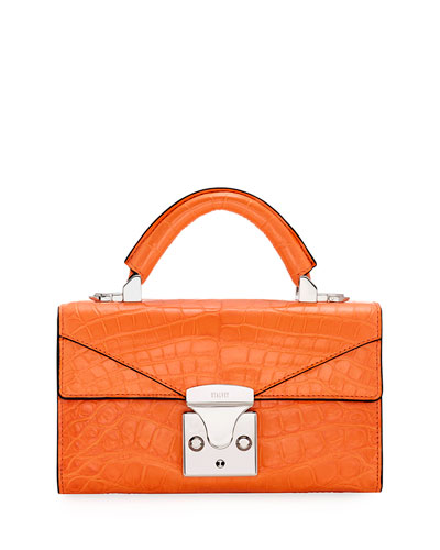 Crocodilian Mini Top Handle Bag  Orange