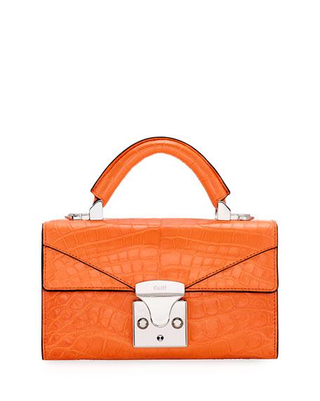 STALVEY Crocodilian Mini Top Handle Bag, Orange
