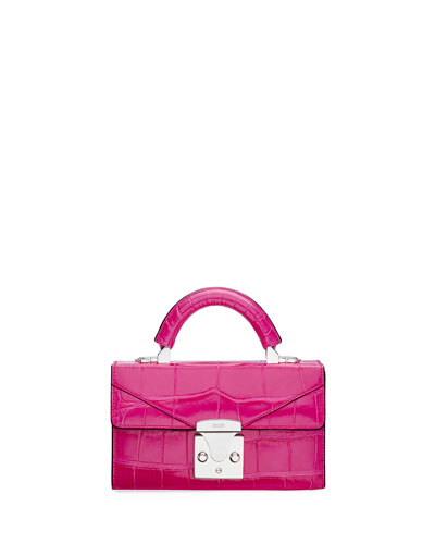 Mini Crocodile Top Handle Bag  Pink