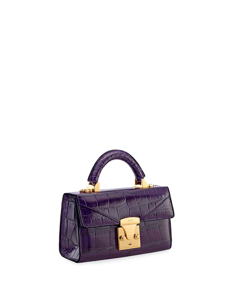 STALVEY Mini Crocodile Top Handle Bag, Plum