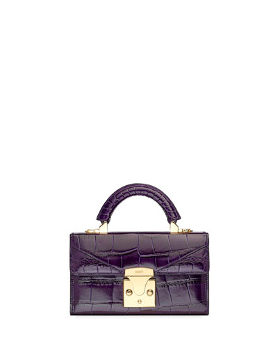 Mini Crocodile Top Handle Bag  Plum