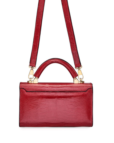 STALVEY Cerise Mini Lizard Top-Handle Bag