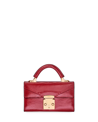 Cerise Mini Lizard Top-Handle Bag