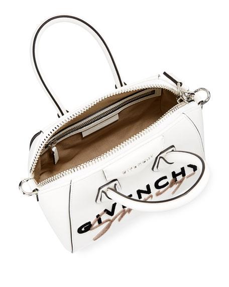 Givenchy Antigona Mini Logo-Embroidered Leather Satchel Bag