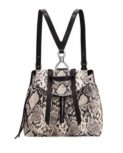 Sliver Snake-Print Backpack